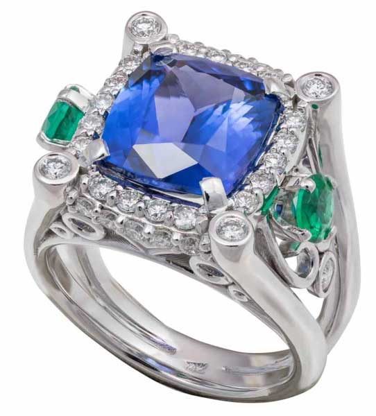 Photo shows a beautiful mans tanzanite ring that was photographed for a catalog.