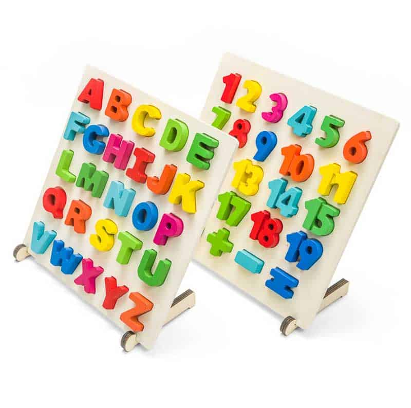 Photo shows a children's letter and number boards photographed on white for Amazon seller.