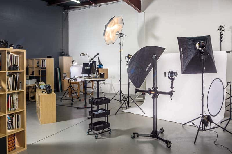 Photo shows library and space for full body photography and tabletop product photography.