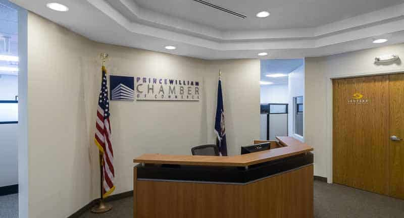 Photo shows the lobby of the Prince William Chamber of Commerce.