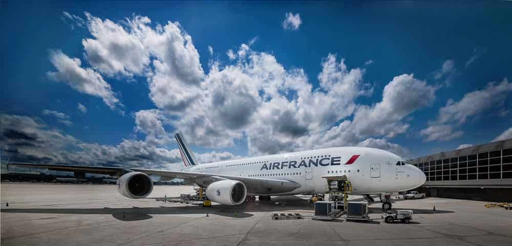 Photo shows an Air France A380.