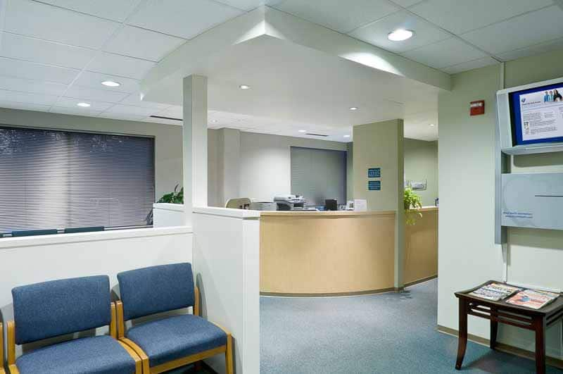Photo shows the interior of a dentist office.