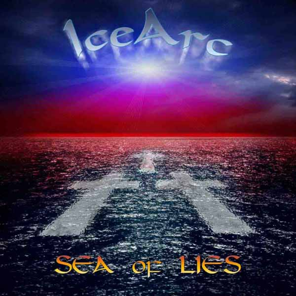 Image shows a composite of sea, crosses, star flare and text to create the cover of an album.