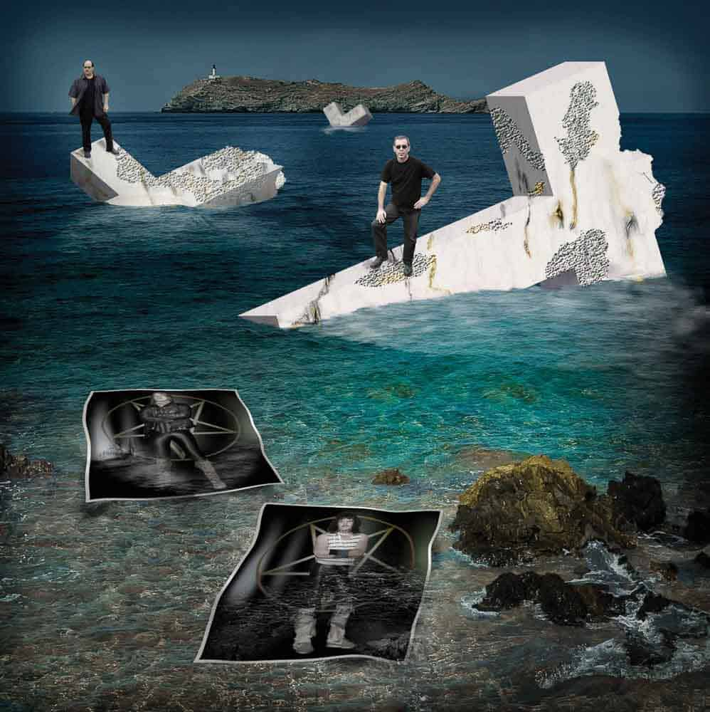 Photo shows 3D crosses added into the water combined with before and after images of the musicians.