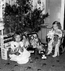 After Photo Restoration of children with Christmas tree