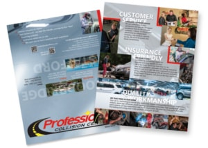 Front and back views of final trifold brochure for Professional Collision Centers designed by Sherri Arnaiz.